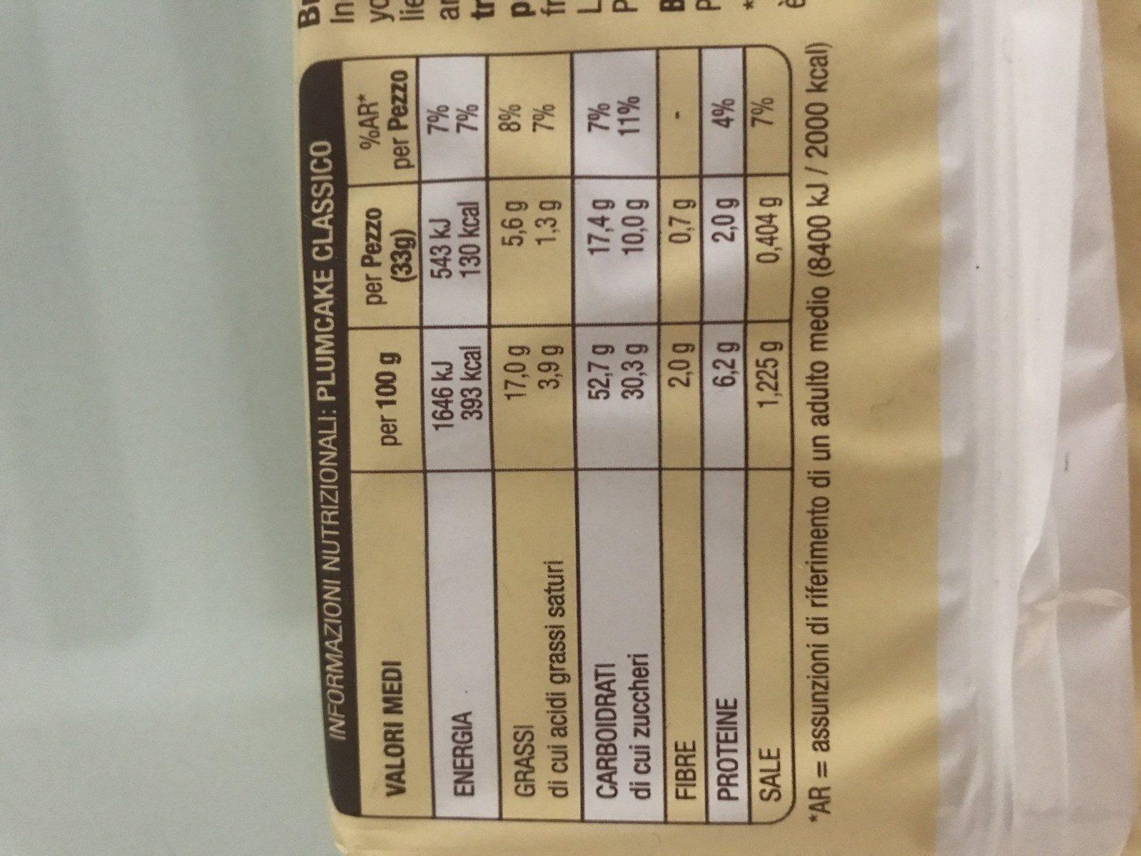 Plumcake Classico - Ingredients - en