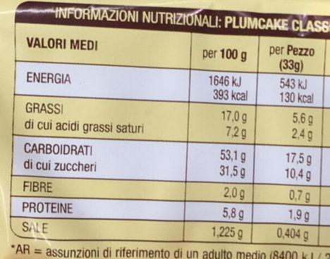 Plumcake Classico - Nutrition facts - en