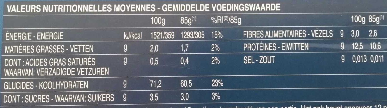 Pâtes Capellini - Valori nutrizionali - fr