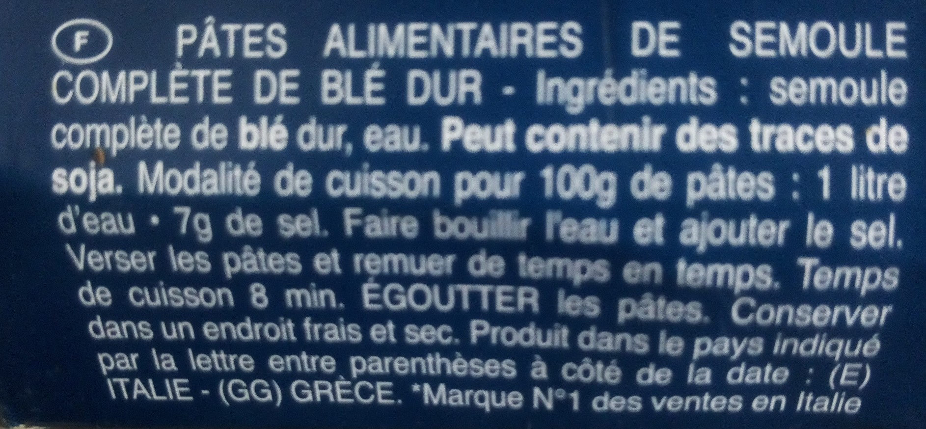 Barilla pates integrale spaghetti n°5 au ble complet - Ingredients - fr