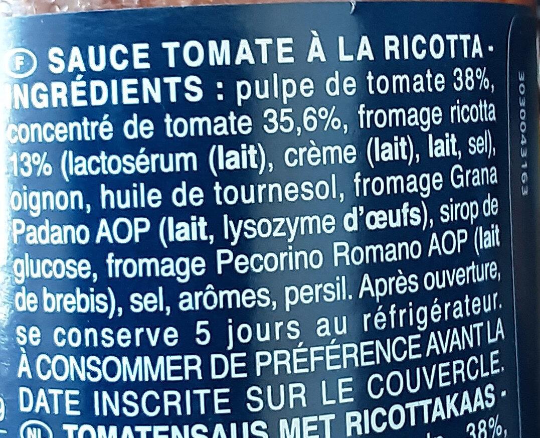 Sauce tomate à la ricotta - Ingredienti - fr