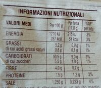 Pane da toast san Carlo - Informations nutritionnelles - it