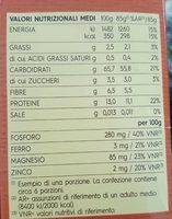 Pennette Rigate Integrale - Informazioni nutrizionali