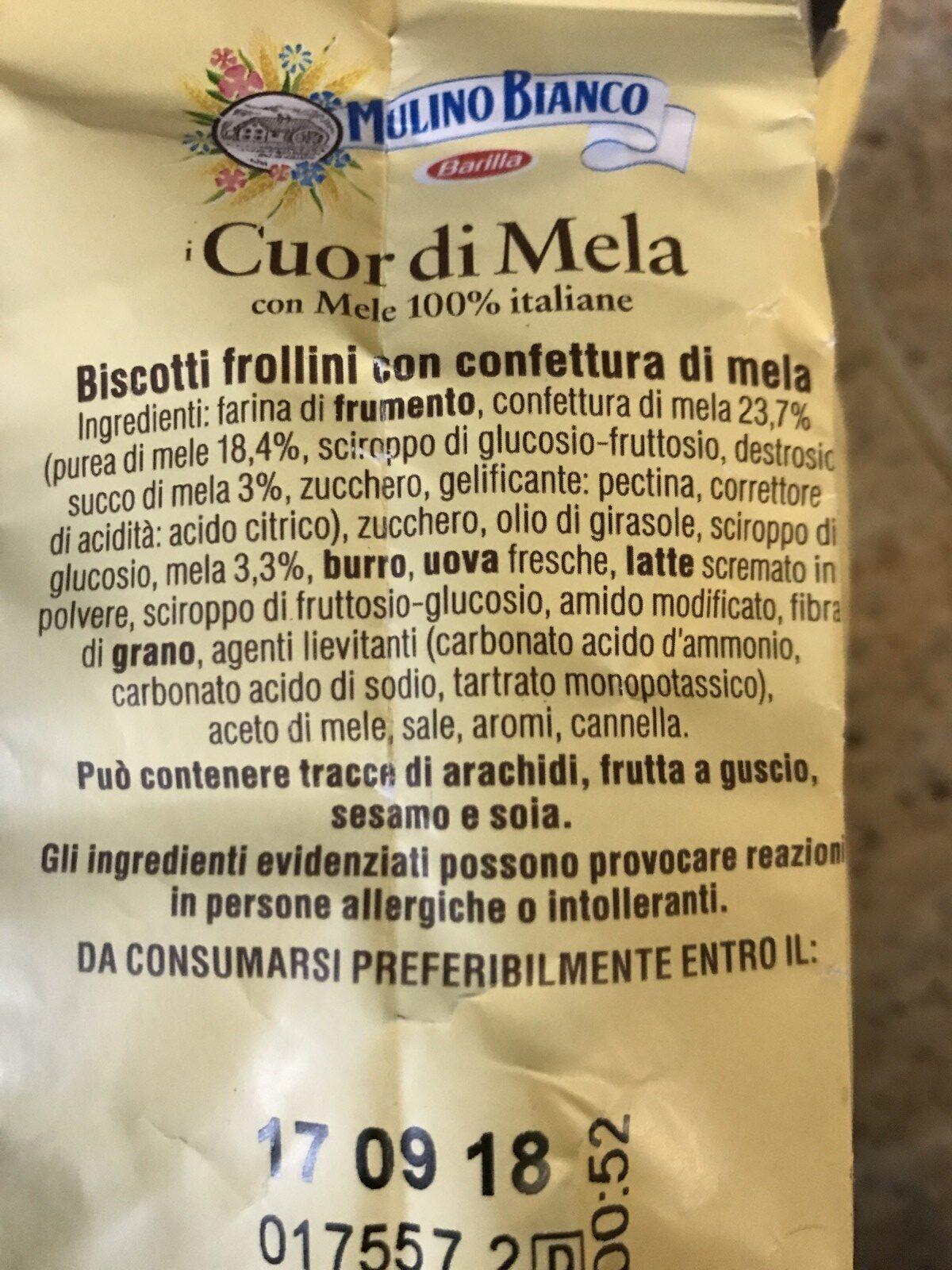 Biscuits Cuor Di Mela (coeur De Pomme) 300GR - Ingrediënten - fr