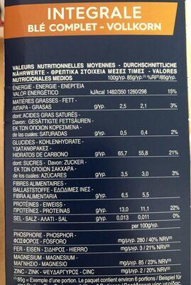 Barilla pates integrale farfalle au ble complet - Informations nutritionnelles - fr