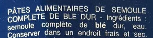 Barilla pates integrale coquillettes au ble complet - Ingredienti - fr