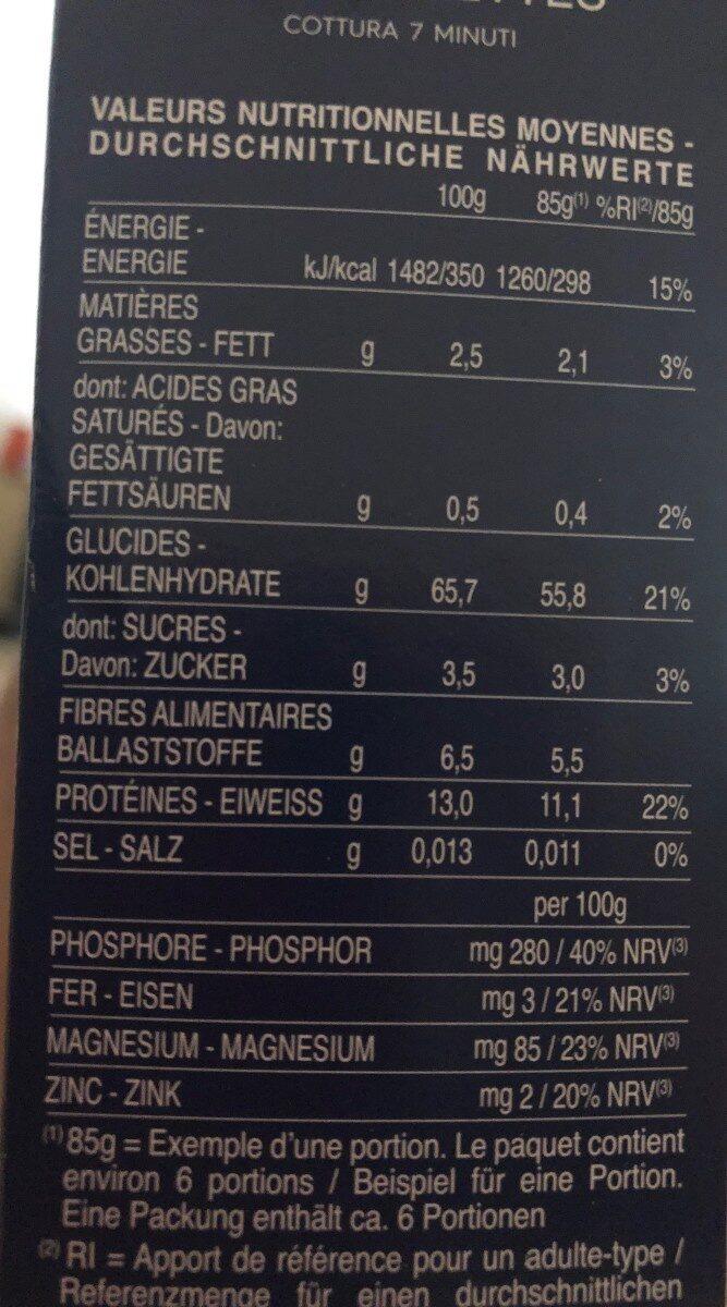 Barilla pates integrale coquillettes au ble complet - Valori nutrizionali - fr