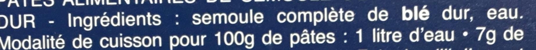 Torsades Integrale 100% Blé complet - Ingrediënten - fr