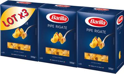 Lot pâtes Pipe Rigate x3 - Produit