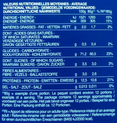 Pâtes Farfalle - Valori nutrizionali - fr