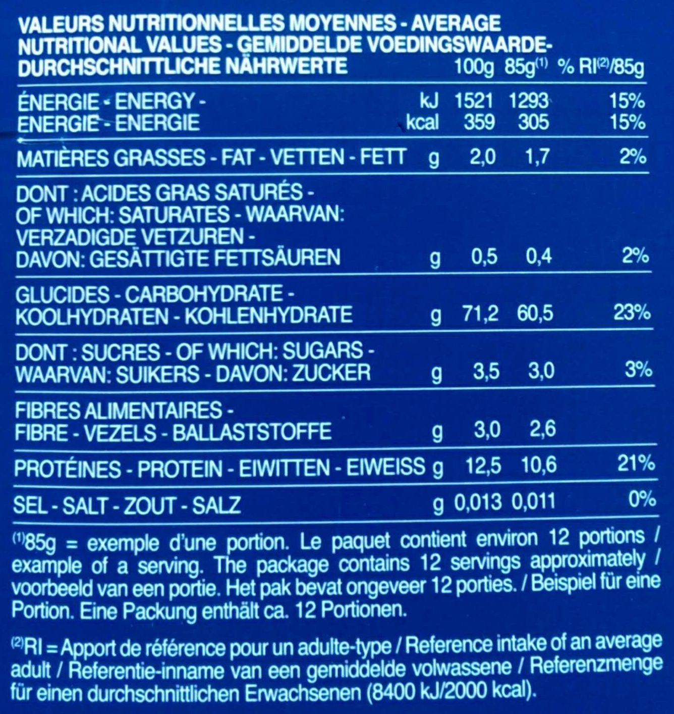 Pâtes Farfalle - Nutrition facts - fr