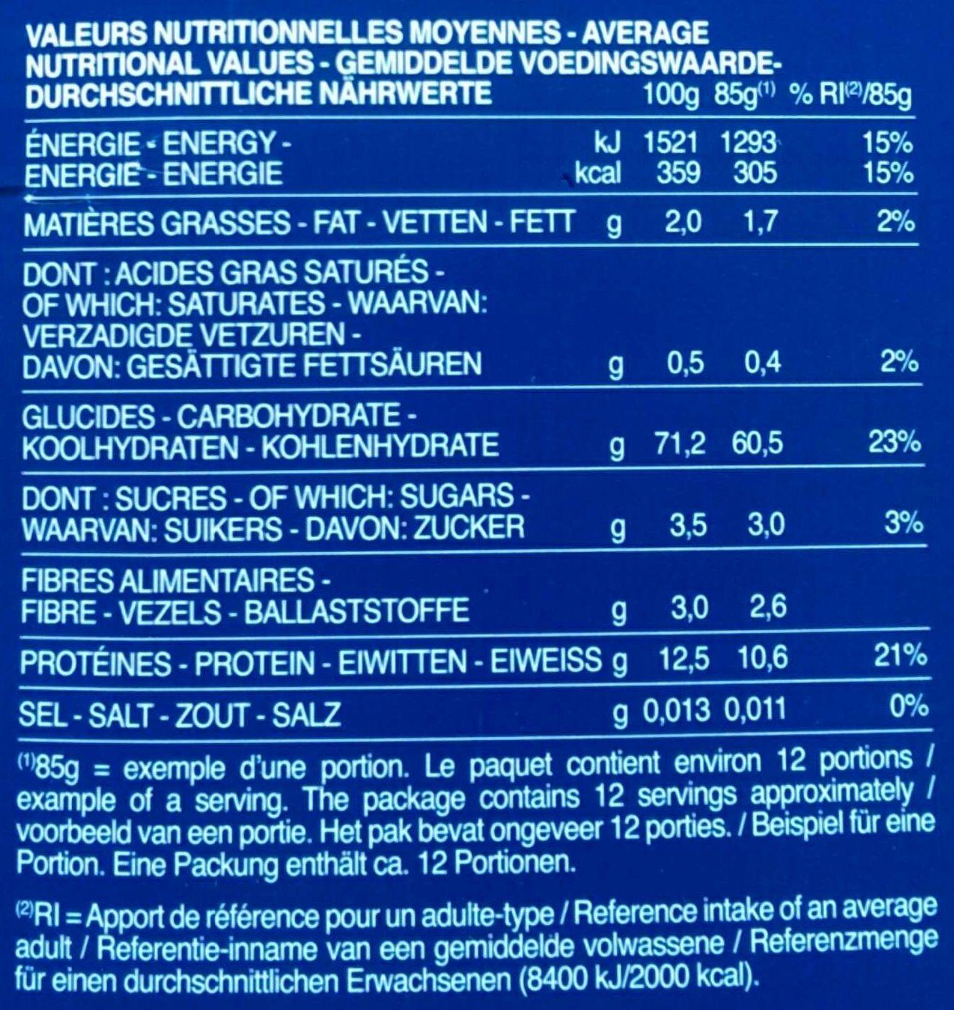 Pâtes Farfalle - Informations nutritionnelles