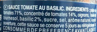 Sauce tomate basilic - Ingrédients - fr