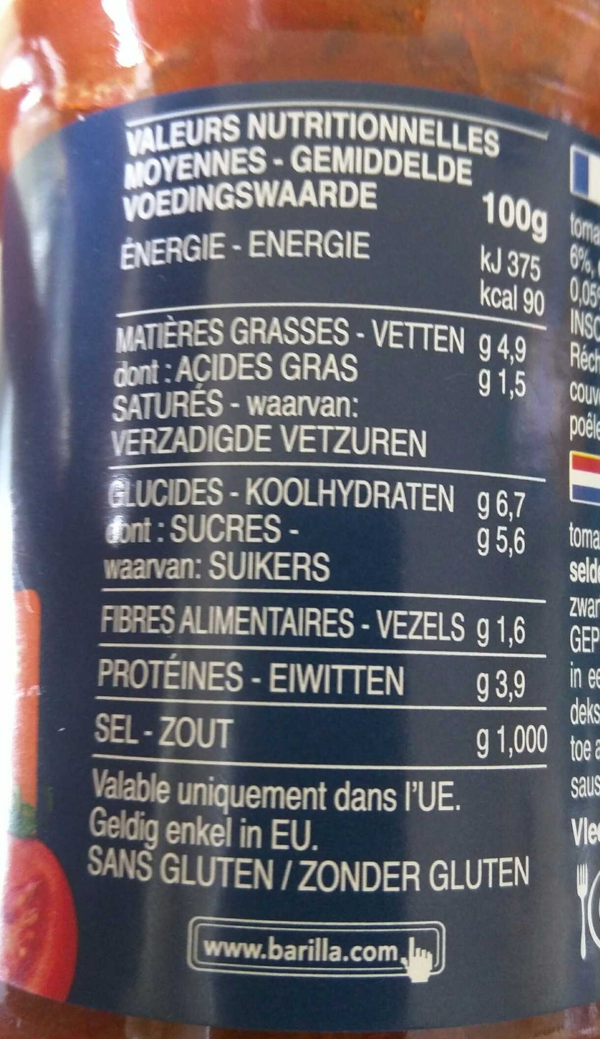 Bolognese - Informations nutritionnelles
