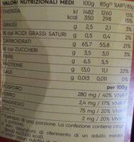 Integrale farfalle - Informations nutritionnelles - it