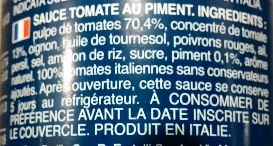 Sauce Tomate Arrabbiata - Ingrédients - fr