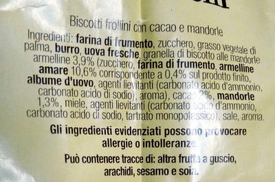RITORNELLI Biscotti frollini con cacao e mandorle - Ingrediënten - it