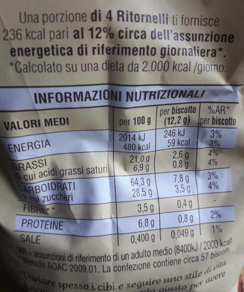 RITORNELLI Biscotti frollini con cacao e mandorle - Informations nutritionnelles - fr