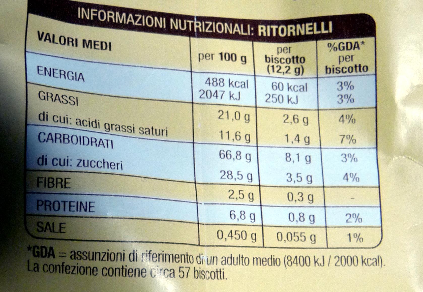RITORNELLI Biscotti frollini con cacao e mandorle - Voedingswaarden - it