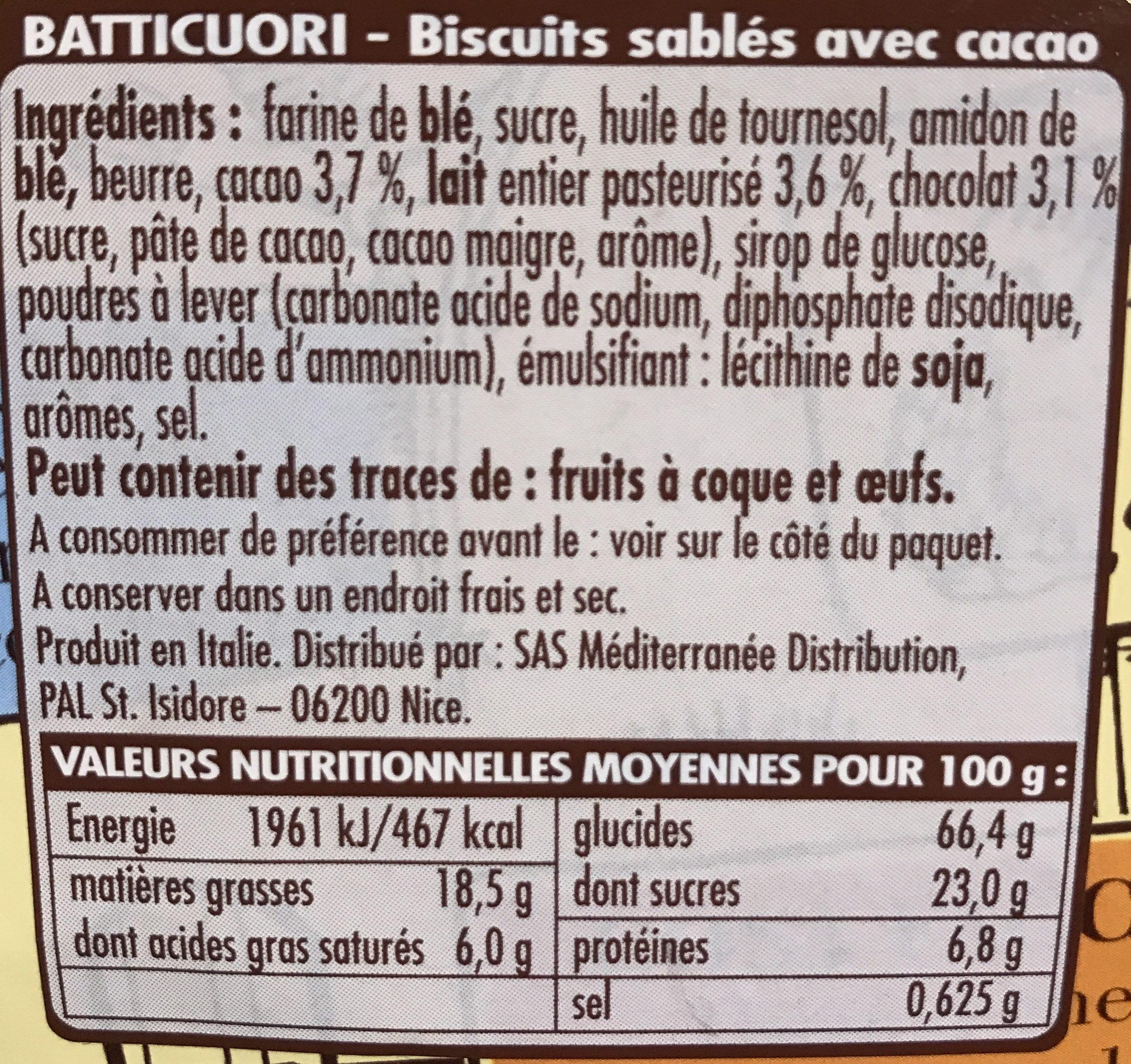 Biscuits Batticuori - Ingredientes