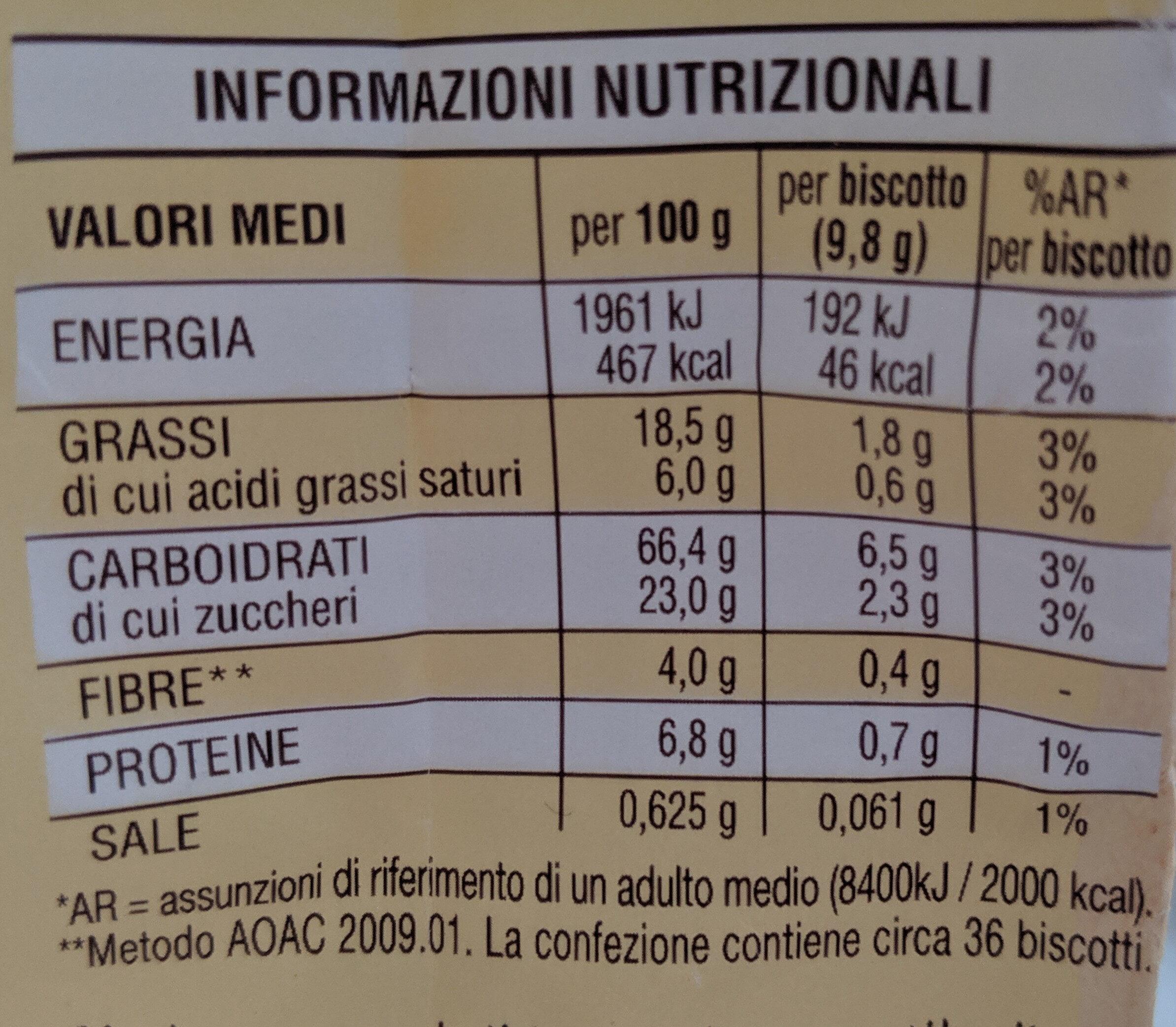 Biscuits Batticuori - Información nutricional