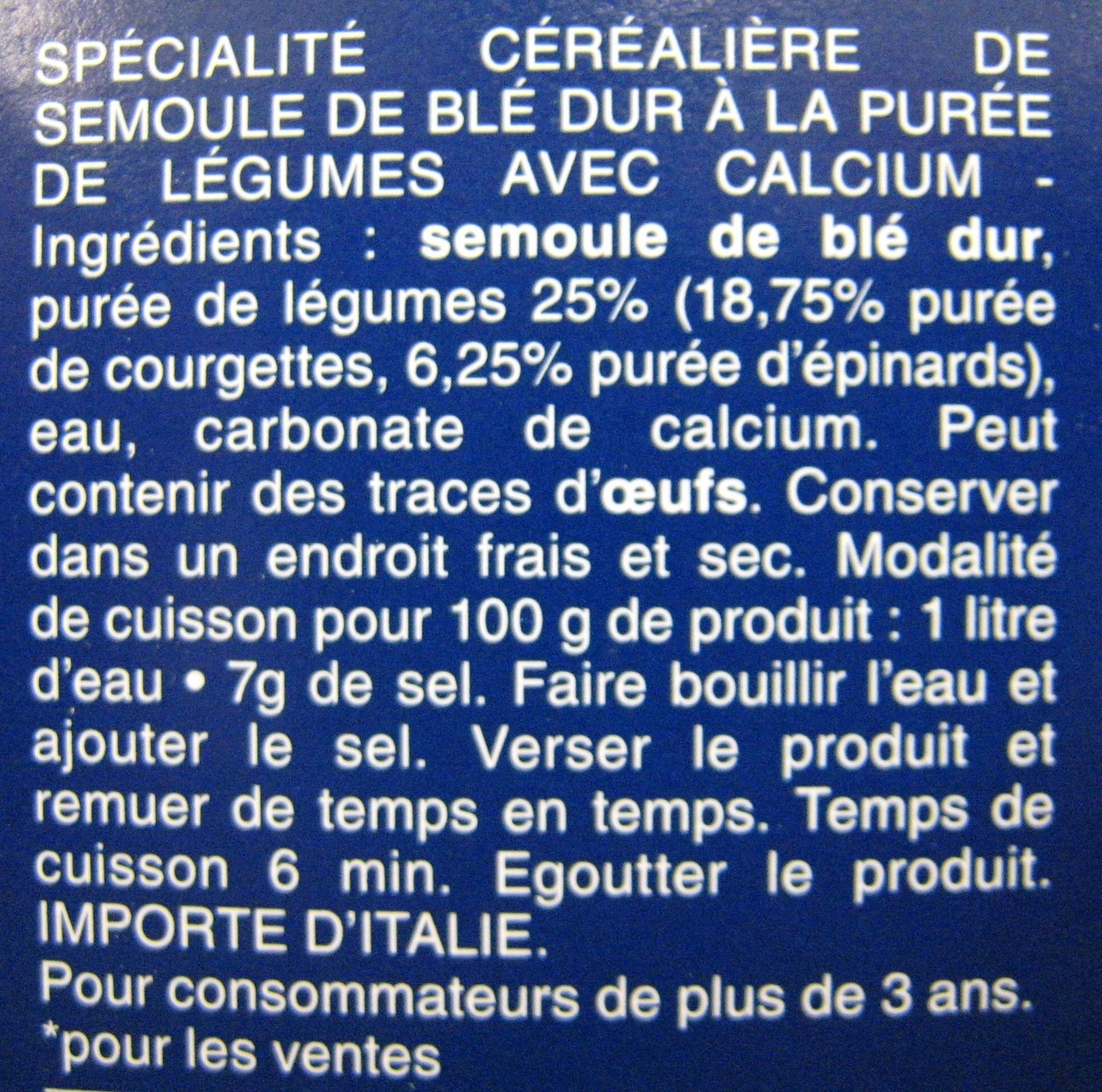 Mini Penne Rigate aux Courgettes et Épinards Piccolini - Ingrédients - fr