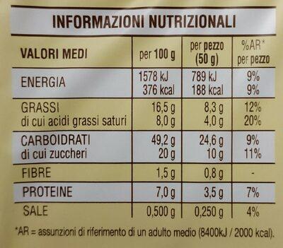 Cornetti all'Albicocca - Informazioni nutrizionali