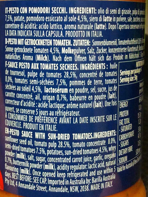 Pesto avec tomates séchées - Ingrédients