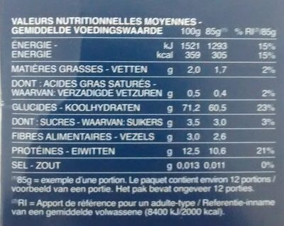 Pâtes Torsades - Informations nutritionnelles - fr