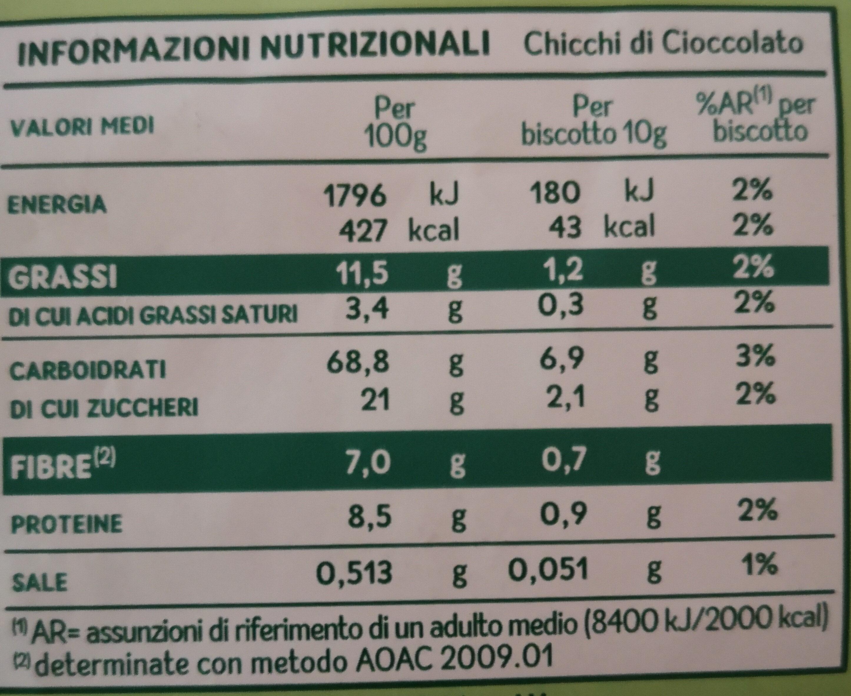 Mulino Bianco Chicchi Di Cioccolato - Voedingswaarden - it