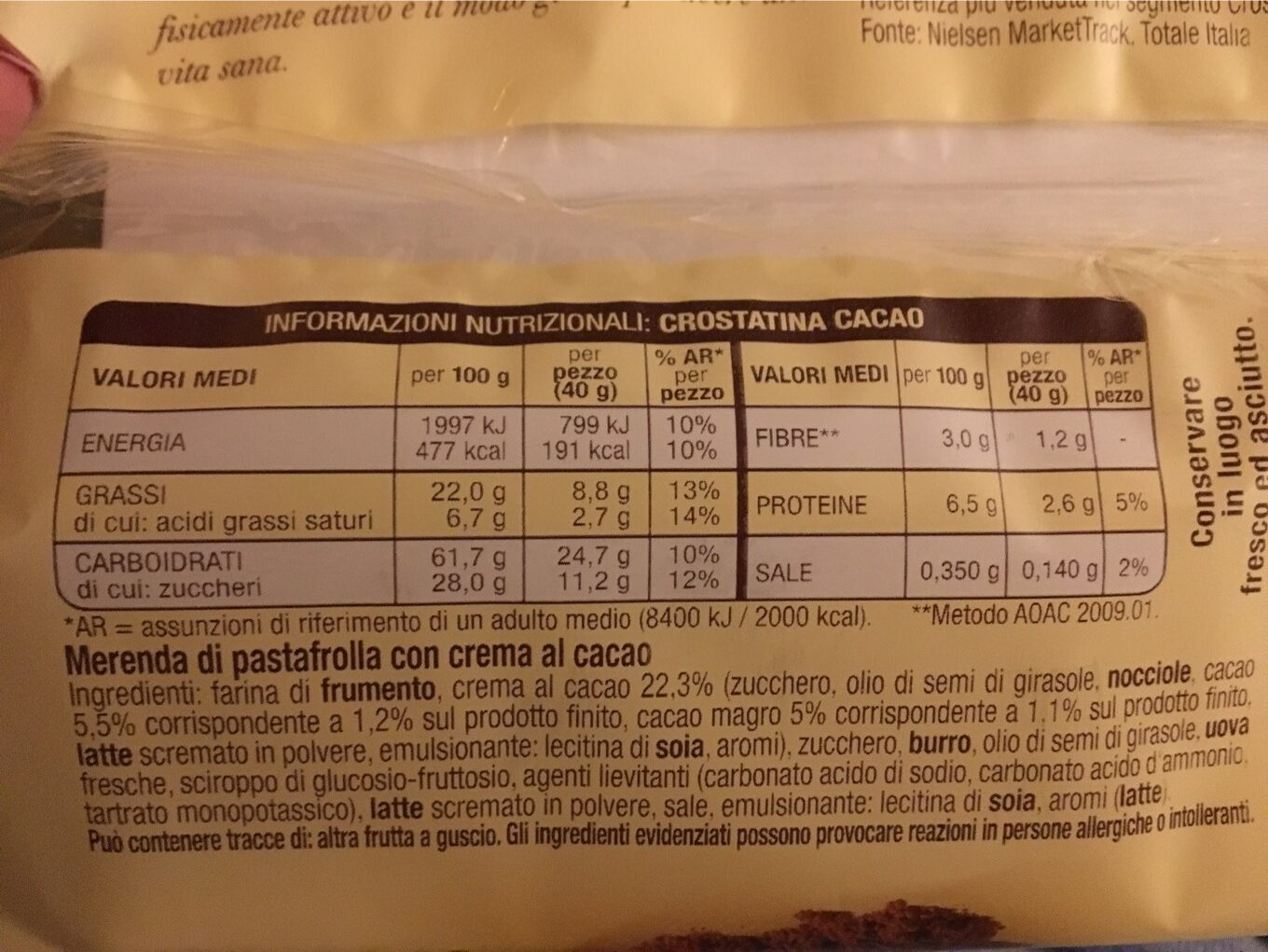 Mulino Bianco - Nutrition facts - fr