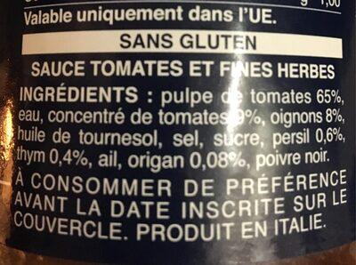 Barilla sauce tomates provencale - Ingredienti - fr