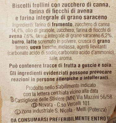 Mulino Bianco Molinetti - Ingrediënten