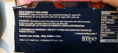Lot 2 sauces provençale - Ingrédients - fr