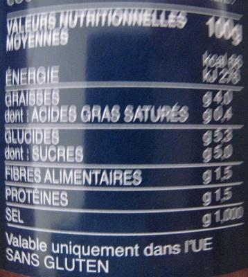 Lot 2 sauces provençale - Informations nutritionnelles