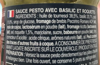 Pesti con Basilico e Rucola - Informations nutritionnelles - fr