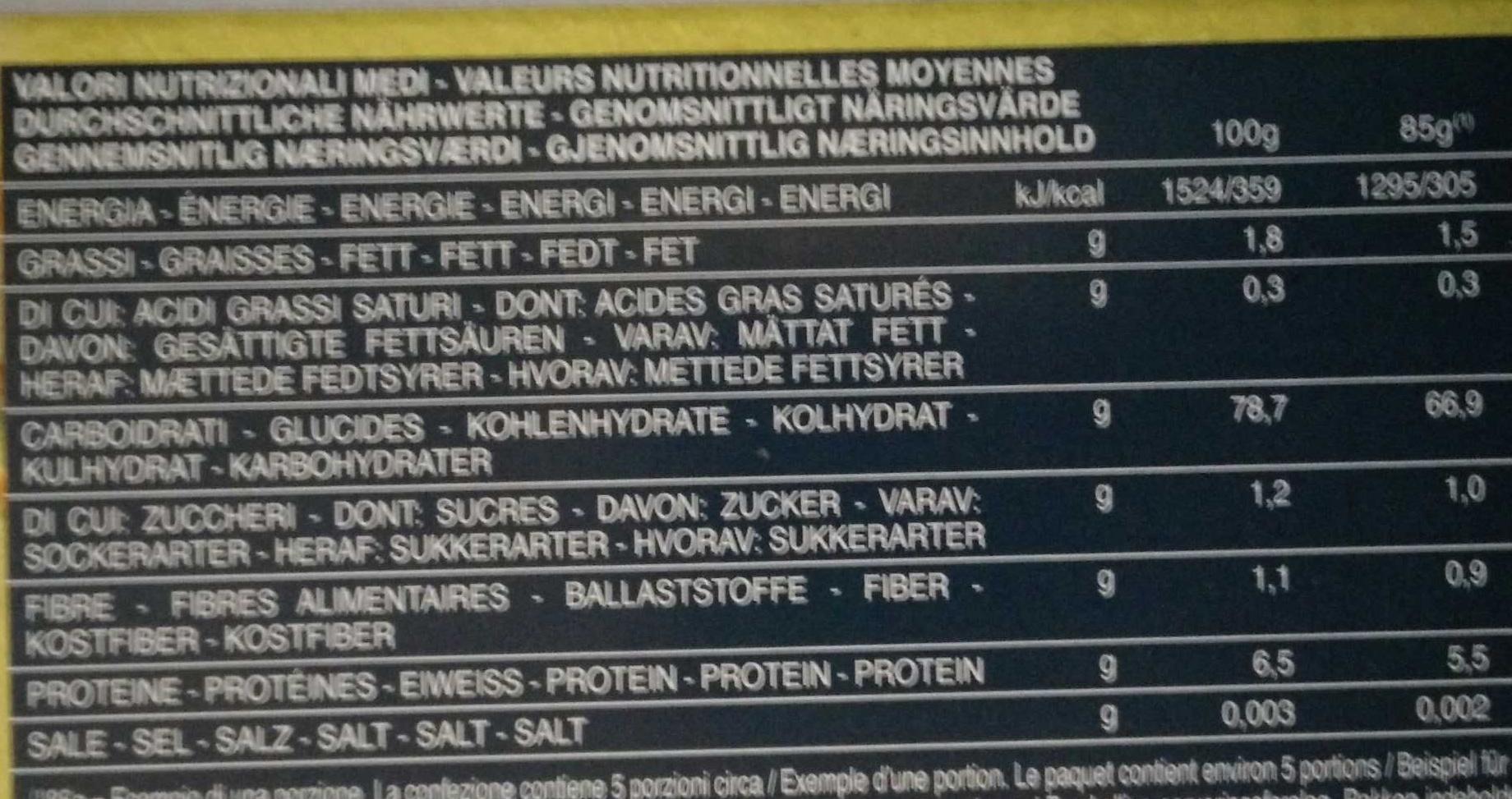 Senza Glutine Spaghetti n°5 - Informazioni nutrizionali