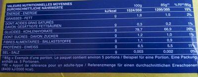 Coquillettes sans gluten - Valori nutrizionali - fr
