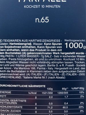 Farfalle 1KG Vorteilspack Barilla - Inhaltsstoffe