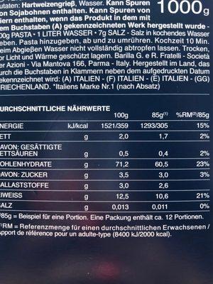 Farfalle 1KG Vorteilspack Barilla - Nährwertangaben