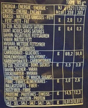 Academia barilla pates fusilli - Valori nutrizionali - it