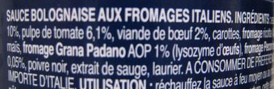 Sauce bolognaise et fromages Italie - Ingredienti - fr