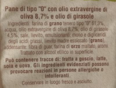 Focaccelle con Olio extravergine du oliva - Ingredients - it