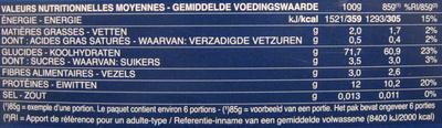 Penne Rigate n. 73 (Lot x 3) - Informations nutritionnelles