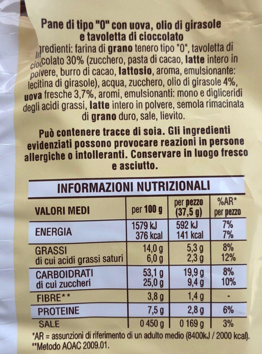 Pane+cioccolato al latte pezzi - Voedingswaarden - it