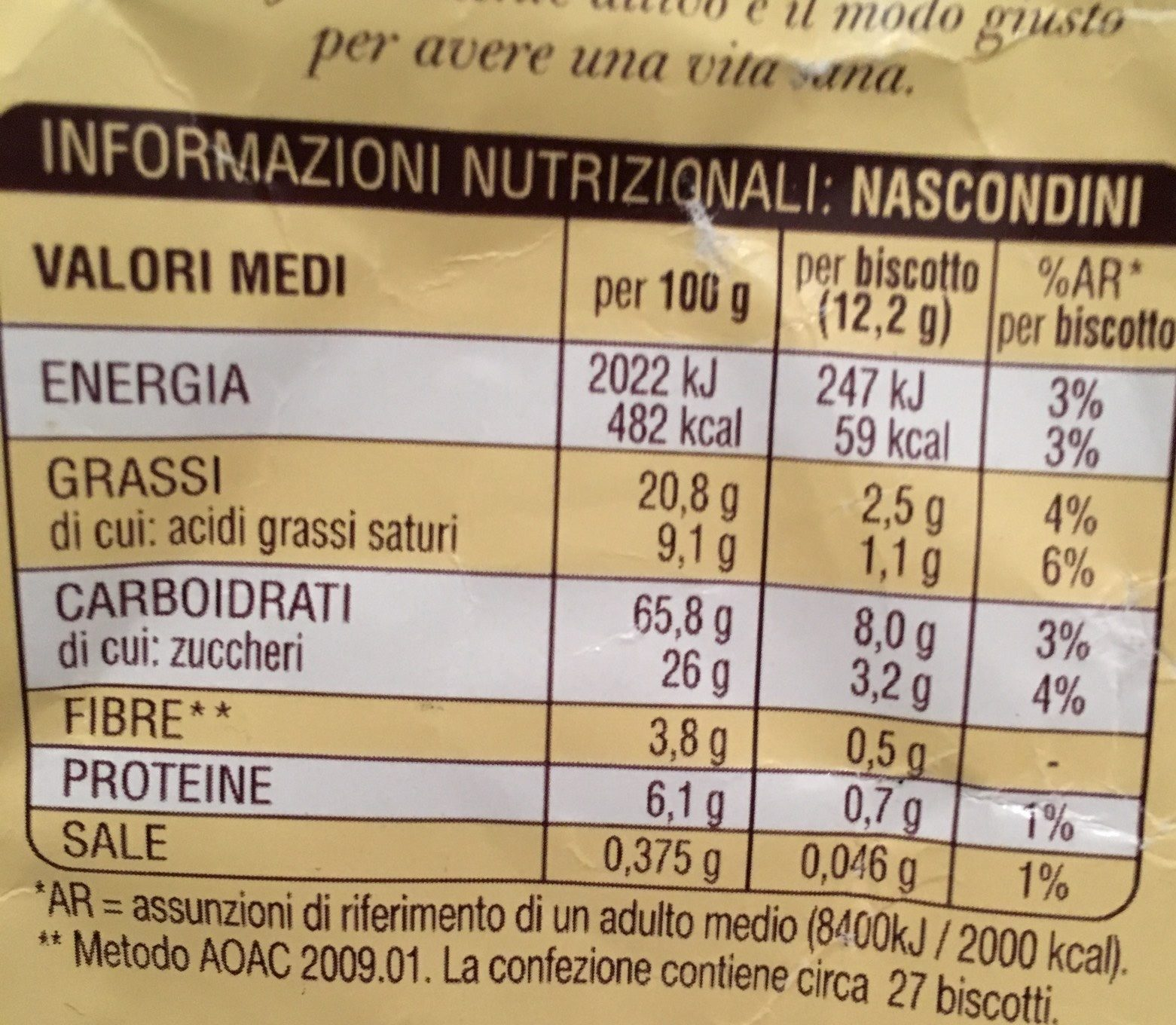 M / Bianco Nascondini - Nutrition facts