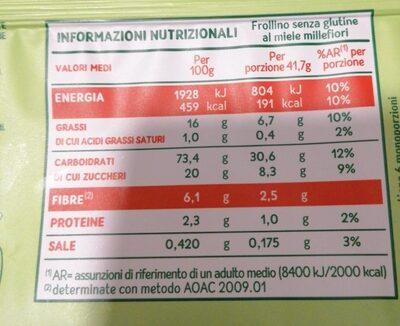 Frollini Au Miel Millefleurs Sans Gluten - Nutrition facts - it