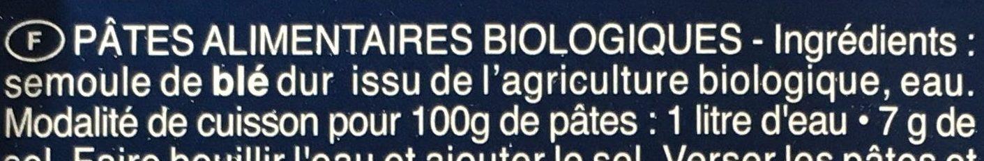 Pâtes Penne Rigate biologiques - Ingrédients - fr