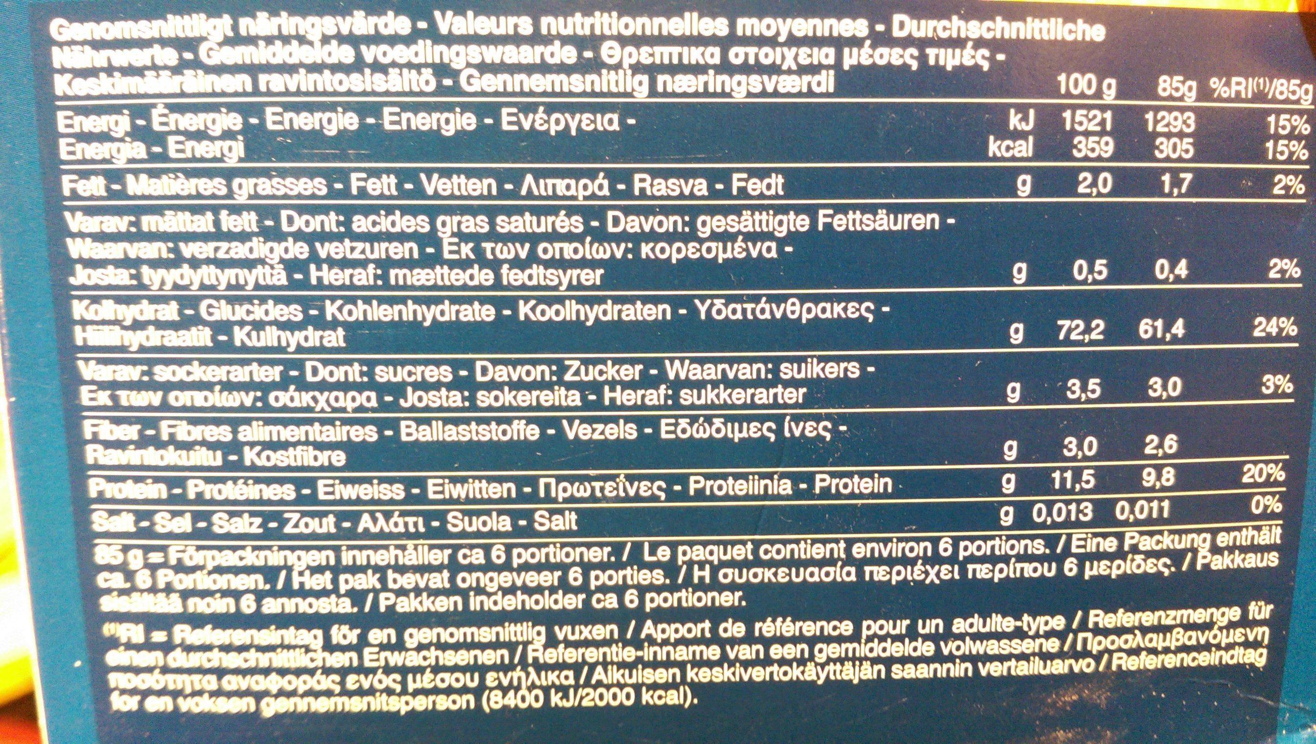 Barilla pates bio penne rigate - Nutrition facts - fr