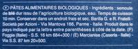 Pâtes Fusilli biologiques - Informations nutritionnelles - fr